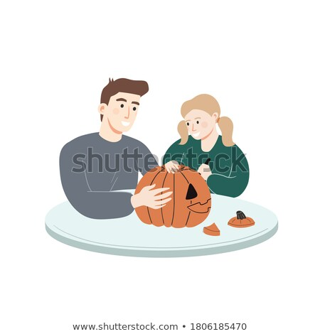 father carving pumpkins with his daughter stock photo © photography33