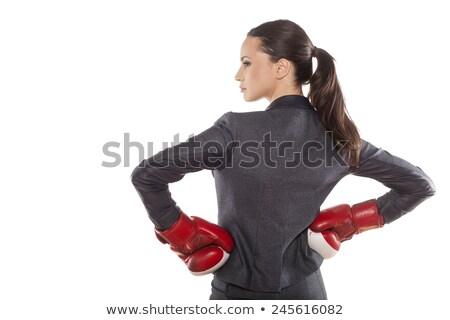 Caucásico mujer traje guantes de boxeo aislado blanco Foto stock © Qingwa