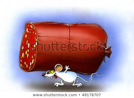 little white mouse is a big piece of sausage Stock photo © ddvs71