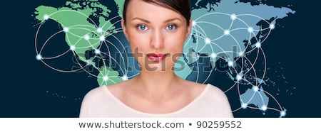 attractive brunette young woman in futuristic interface standing stock photo © hasloo