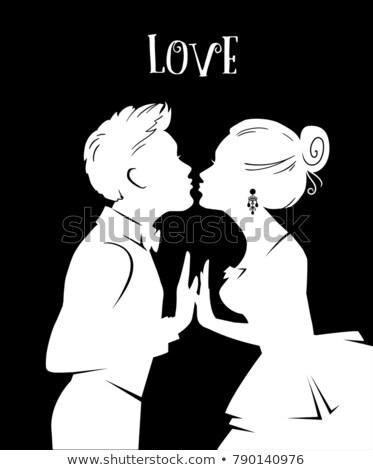 mujer · besar · hombre · corazón · prestados · alto - foto stock © texelart