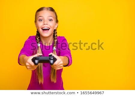 blonde · vrouw · spelen · video · games · partij · technologie · meubels - stockfoto © photography33