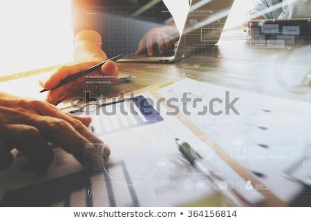 Perspectiva negócio plano diagrama 3D papel pardo Foto stock © silent47