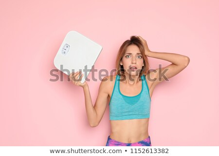 Foto stock: Mulher · banheiro · balança · feliz · esportes