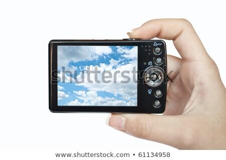 Blu compatto fotocamera vista posteriore isolato bianco Foto d'archivio © karandaev
