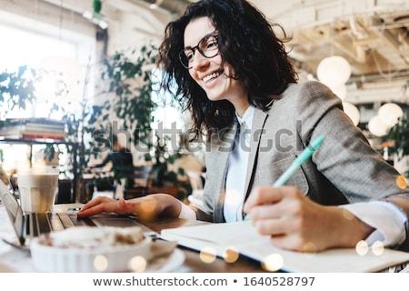 Stock fotó: Nő · jegyzet · könyv · ír · valami · üzlet