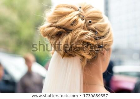 Capelli biondi sposa donna sera trucco gioielli Foto d'archivio © Victoria_Andreas