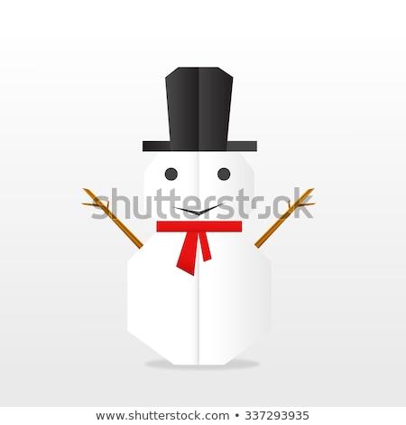 sneeuw · man · origami · water · papier · glimlach - stockfoto © djemphoto