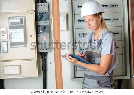 Kadın elektrikçi elektrik okuma ev Stok fotoğraf © photography33
