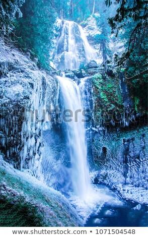 Foto stock: Congelada · rio · gelado · frio · cachoeira