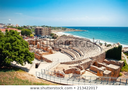 Romok ősi amfiteátrum Spanyolország építkezés fal Stock fotó © Nobilior