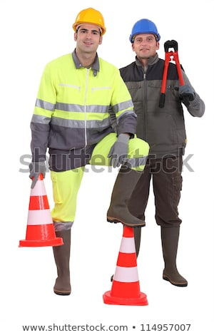Traffic worker stood by cone Stock photo © photography33