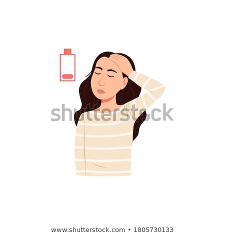 fáradt · fiatal · nő · fehér · háttér · felirat · kártya - stock fotó © wavebreak_media