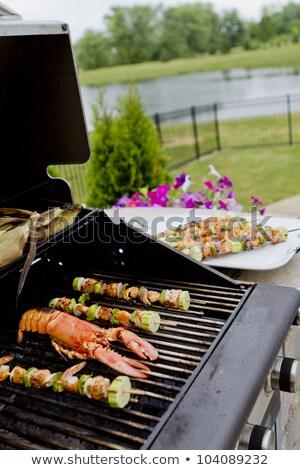 zöldség · barbecue · nyárs · vacsora · kukorica · paradicsom - stock fotó © ozgur