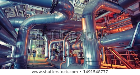 industrial · tubo · emissão · cimento · luz · azul - foto stock © Andriy-Solovyov