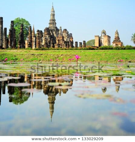 Thong reflectie vijver gras reizen baksteen Stockfoto © joyr