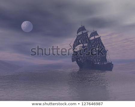 flying dutchman boat by night   3d render stock photo © elenarts