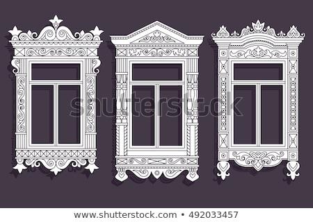 set of windows of russian houses stock photo © kyolshin
