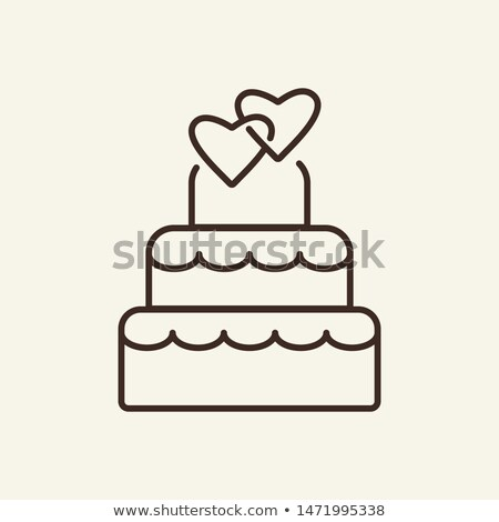 Esküvői torta ahogy szív néz ünnep virág Stock fotó © carenas1