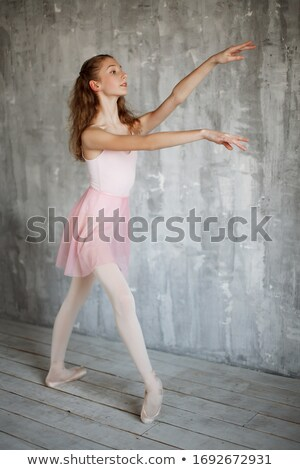 Beautiful blond woman wearing a gray leotard Stock photo © stryjek