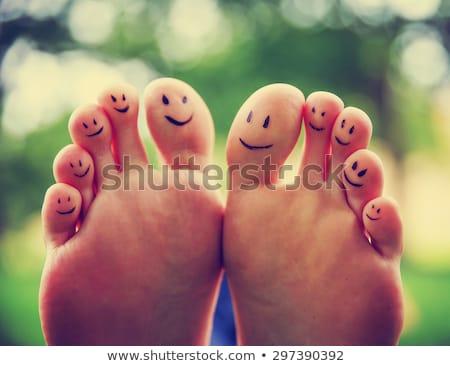 Boldog láb káprázatos fiatal barna hajú nő Stock fotó © lithian