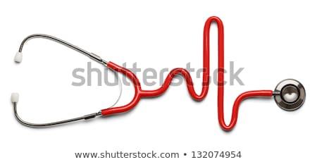 Medische apparatuur tools Rood stethoscoop geïsoleerd witte Stockfoto © lunamarina