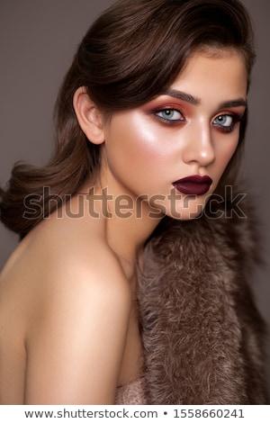 Güzel genç kadın turuncu ruj kahverengi gözleri siyah Stok fotoğraf © juniart