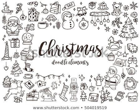 karácsony · firkák · labda · vágási · körvonal · terv · cukorka - stock fotó © lenm