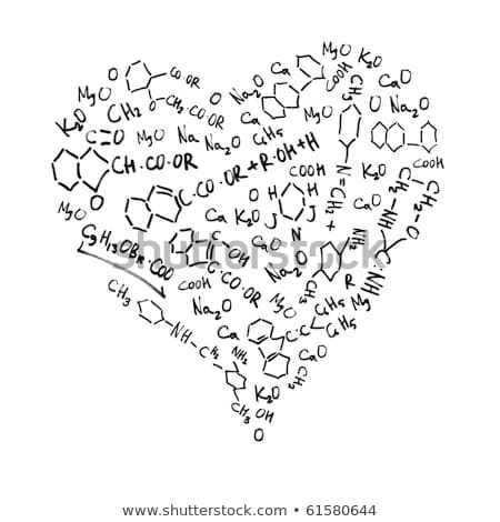 Heart shaped chemical formulas, isolated on white background. Stock photo © pashabo