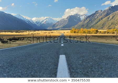 Straight empty highway leading into Aoraki-Mount Cook Stock photo © shirophoto