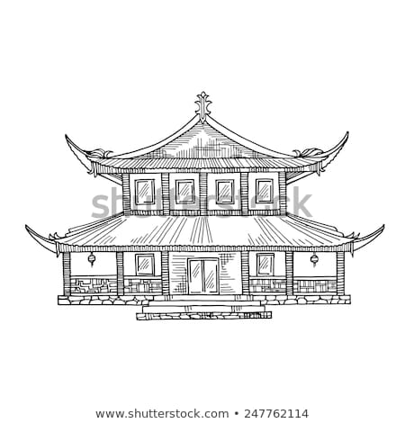 Japans huis tekening vector schets traditioneel Stockfoto © HypnoCreative