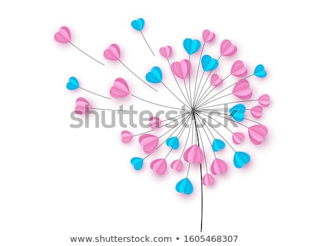 woman with heart dandelion vector stock photo © beaubelle