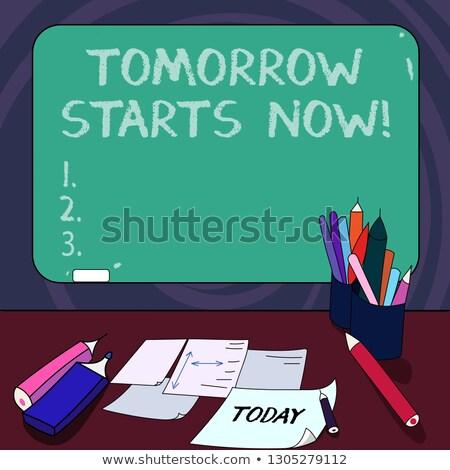 明日 · 今日 · 人 · 図面 · ポインティング · チョーク - ストックフォト © kbuntu