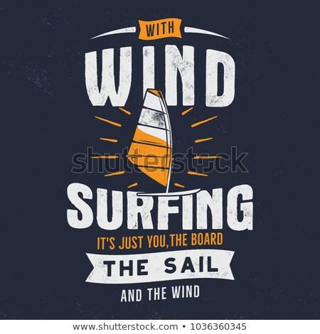 Windsurf vintage estilo retro menina azul mar Foto stock © Mikko