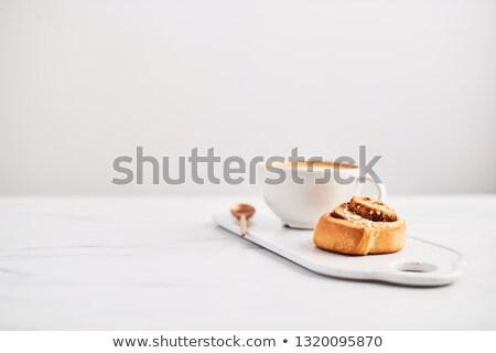 Cappuccino déjeuner Toast abricot confiture tasse Photo stock © Tagore75