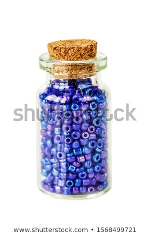 Azul cuentas aislado blanco moda vidrio Foto stock © natika