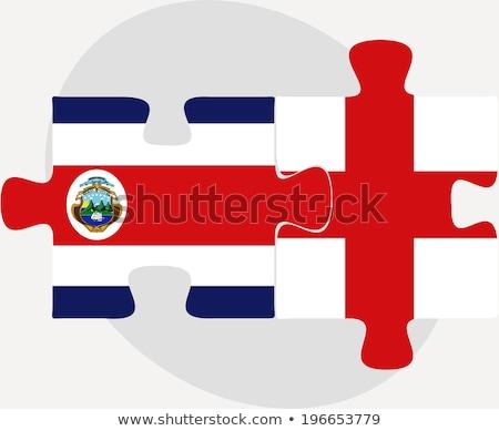 Inghilterra Costarica bandiere puzzle isolato bianco Foto d'archivio © Istanbul2009
