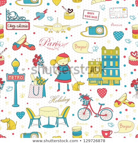 Stock photo: Sketch bicycle, vector vintage seamless pattern