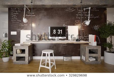 Stock fotó: Modern Home Office Interior Design With Bookshelves