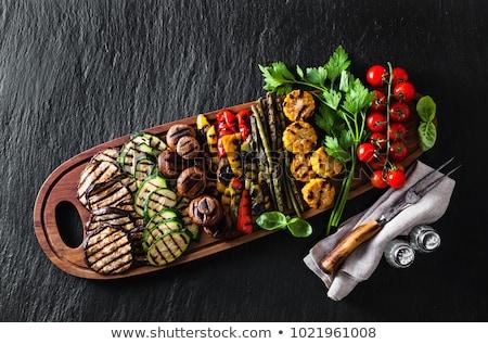 paradicsom · cukkini · kebab · étel · zöldség · ebéd - stock fotó © M-studio