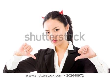 Asian jonge vrouw tonen beide handen Stockfoto © bmonteny
