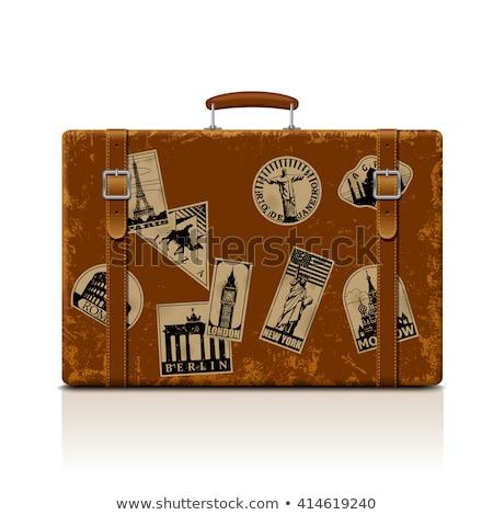 Vintage · кожа · чемодан · пляж · ходьбе · Stick - Сток-фото © alexandre17