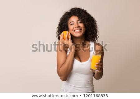 fitt · egészséges · lány · ital · tart · üveg - stock fotó © dash