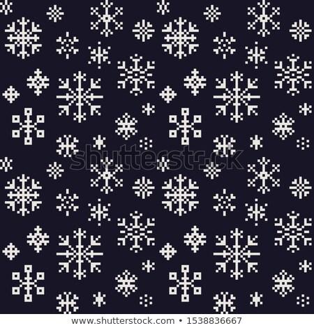 Színes pixeles hópelyhek karácsony ikonok tél Stock fotó © RedKoala
