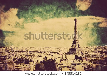 Rooftop view on the Eiffel Tower, Paris, France. Vintage, retro Stock photo © photocreo