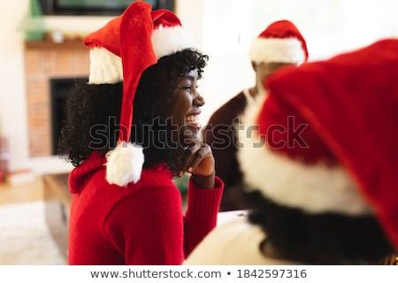 女性 · 肖像 · 美しい · ブルネット · 着用 · サンタクロース - ストックフォト © dash