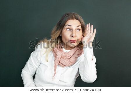 Сток-фото: Nosy Surprised Woman Hand To Ear Secretly Listen In On Gossip
