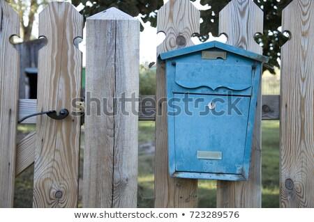 старые почтовый ящик забор краской синий Сток-фото © Agatalina