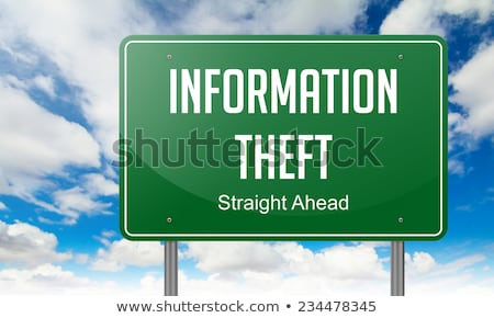 cyber crime on green highway signpost stock photo © tashatuvango