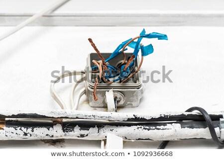 meztelen · drótok · elektomos · fal · foglalat · kábel - stock fotó © milsiart